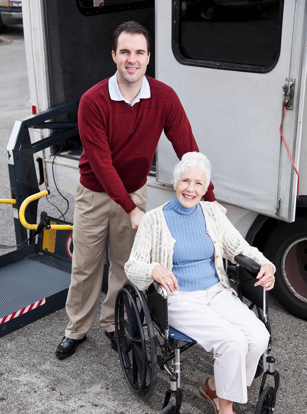 happy woman in wheel chair